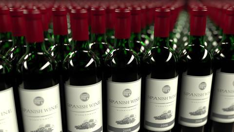 Many bottles of Spanish wine, seamless loop animation Footage