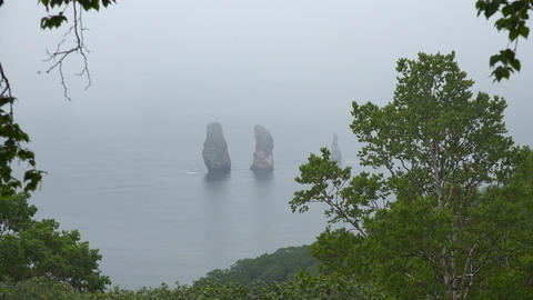 The Island's Three Brothers. Sea Safari journey along the Kamchatka Peninsula. Footage