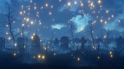 Fairy firefly lights at spooky night cemetery Animation