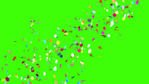 Confetti Party Popper Explosions on a Green Background Animation