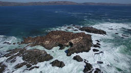 Aerial Flight Around A Seal Covered Rock Island 1 Footage