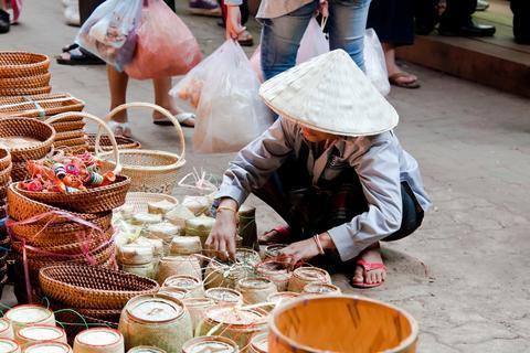 Street market in Champasak Photo