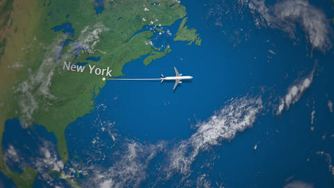 Route of commercial airplane flying from New York to Dubai on the Earth globe Footage