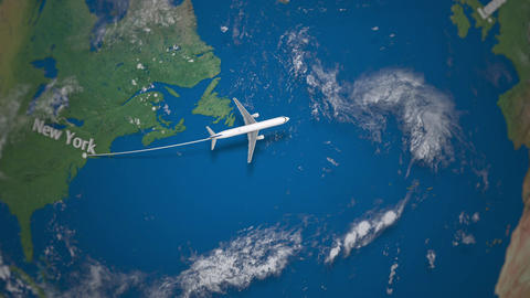 Route of commercial airplane flying from New York to London on the Earth globe Footage