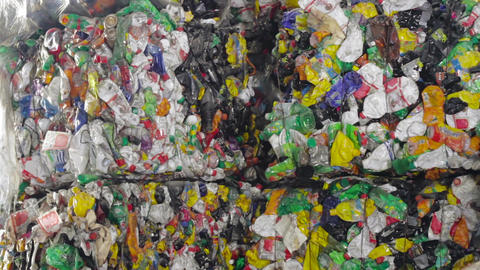 Plastic recycling container shredder waste crusher Footage