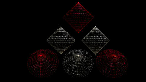 3d video with cones in wireframe design, red and silver cone on black CG動画素材