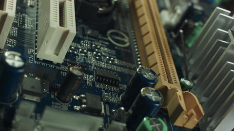 close-up of electronic circuit board with processor ビデオ