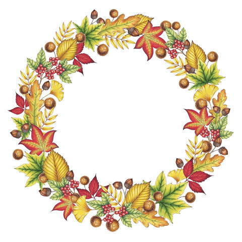 Autumn Leaves Wreath Illustration フォト