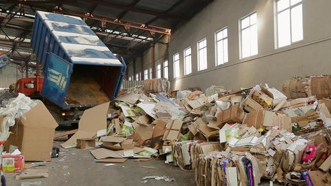 Large warehouse of waste paper in a factory Footage