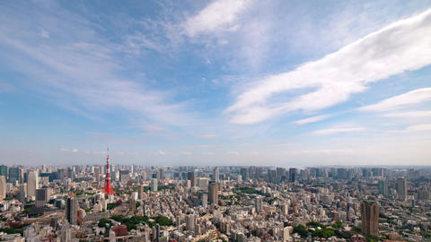 Walk in the air (Blue sky & cloud shape at Tokyo city) zoom out Image