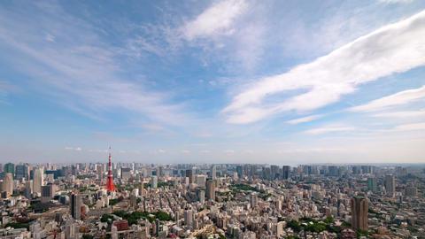 Walk in the air (Blue sky & cloud shape at Tokyo city) zoom in ビデオ