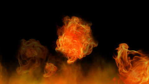 Fire, wild flames on black background. Computer generated animation of natural Bild