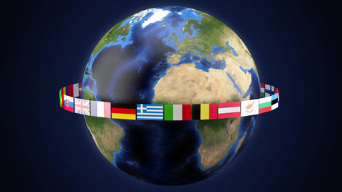 Flags of the member states of the European Union around the world Loop Footage
