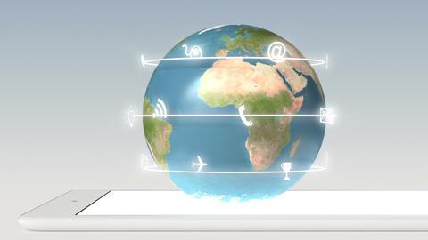 App icons fly off around globe on laptop Loop Footage