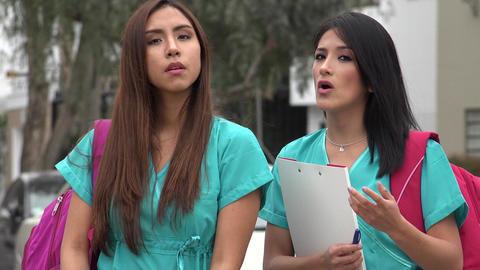 Female Student Nurses Talking Live Action