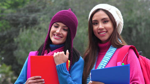 Friends Female College Students Cold Weather Live Action