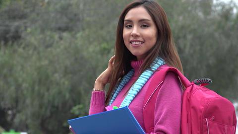 Pretty Hispanic Female College Student Live Action