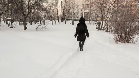 Girl In A Black Fur Coat stock footage