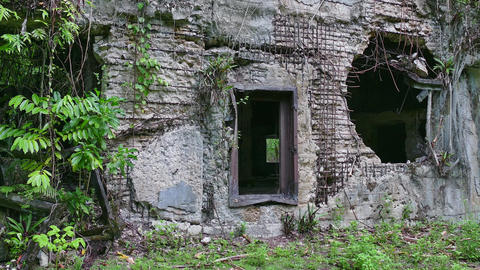World War Remains Old Building Battlefield In Jungle Palau Peleliu Footage