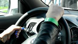 woman grip steering wheel Footage