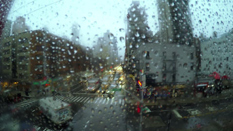 Rain. Cable Car above the Street Footage