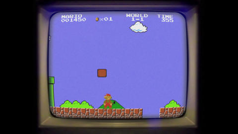 Super Mario game play on a vintage screen arcade Footage