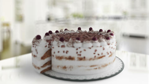Delicious Cake Blueberry Topping Dessert stock footage