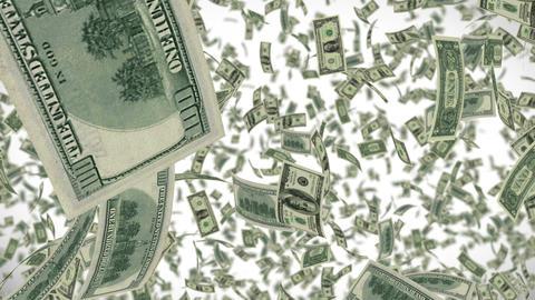 Dollar bills falling dollars endless loop Footage
