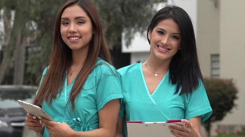 Happy Hispanic Female Nurses Live Action