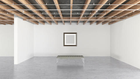 Blank frame on the bright wall in modern gallery interior Footage
