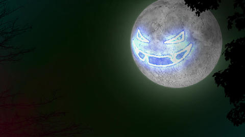 Scary Moon Pumpkin Face Halloween Background loop glow 4k Animation