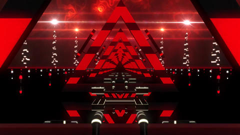 3D Red Abstract Triangles Tunnel VJ Loop Motion Background CG動画素材