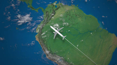 Route of commercial airplane flying from Rio de Janeiro to Los Angeles on the Footage