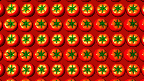 Tomatoes On Red Background Animation