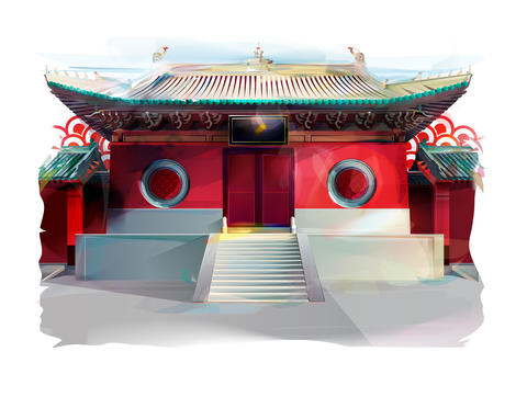 Chinese Temple. Watercolor Illustration フォト