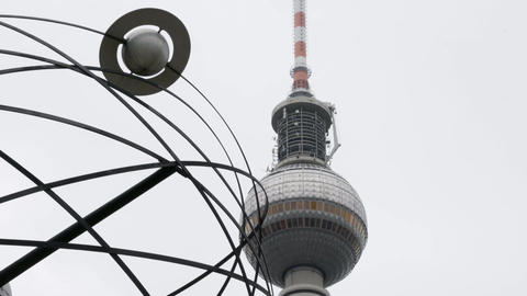 World Time Clock Urania at Alexanderplatz in Berlin Footage