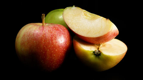 Organic green and red apple slizes Footage