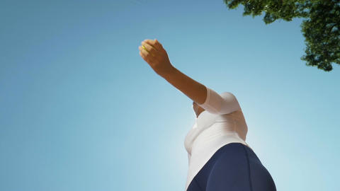 Hand of woman tennis player throwing and catching a ball Footage
