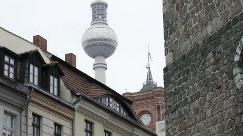 Berlin TV Tower on a cloudy day seen from Nikolaikirche Church Footage