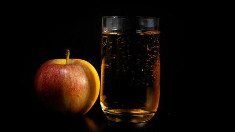 Fresh ecological apple juice rotates Footage