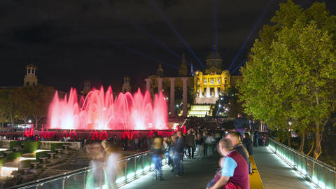 Timelapse video of Magic Fountain Font Magica light show in Barcelona, at night Footage