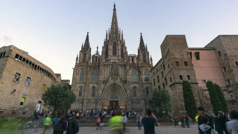 Timelapse video of Barcelona Cathedral at sunset Footage