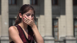 Woman Crying At Courthouse Or Library Live Action