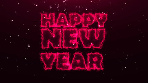 Three-dimensional text Happy New Year. Abstract background with snow Live Action