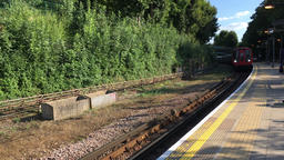 London Underground train arriving at Chesham station Buckinghamshire UK Filmmaterial