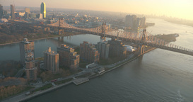 Roosevelt Island, Cable Car, Brooklyn and Queensboro Bridge Aerial from Helicopt Footage
