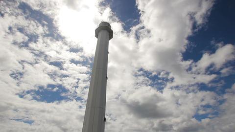 lighthouse with blue sky,clouds.Malapascua Island Footage