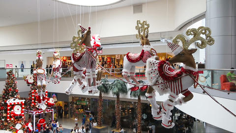 Christmas Decorations In The Shopping Mall stock footage