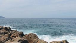 Seascape, Waves Breaking Into Rocks Footage