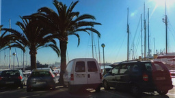 Palma Main Boulevard Car Passing By The Port Footage